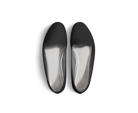 foot wear: Black blank women shoes mockup stand isolated, top view, clipping path. Female ballet foot wear design mock up with clear insole. Clean lady footwear template wth flat slip. Dance girls shoe display.