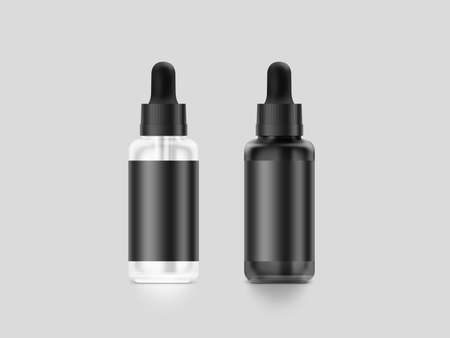 Blank black vape liquid dropper bottle mockup set, isolated, clipping path, 3d illustration. Vapor juice flacon mock up template. Vaporizer flavor vial. E-cigarette aroma liquid design.