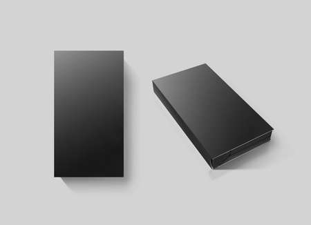 videotape: Blank black video cassette tape box mockup set, isolated, 3d rendering, clipping path. Clear vhs cassete case design mock up. Retro tv videotape cover template, top, side view. Movie casette copy Stock Photo