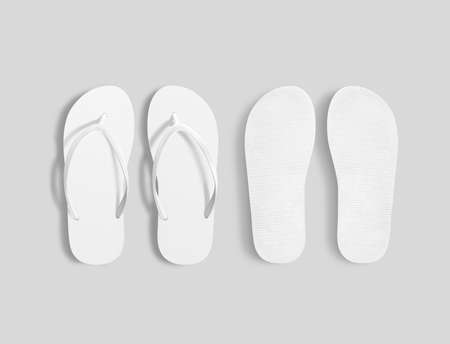 Home plain flops mock up template. Clear bath sandal display. Bed shoes accessory footwear. Rubber flipflops bottom view Banco de Imagens