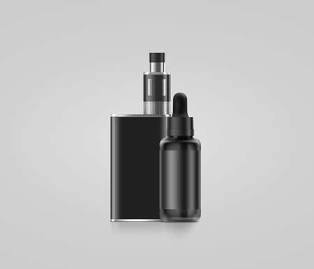 vaporizer: Blank black vape mod box with juice bottle mockup isolated, clipping path, 3d illustration. Clear smoking vapor with dropper flacon mock up template. Modbox vaporizer device presentation. Stock Photo