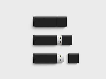 pendrive: Clear plastic flash disk template opened, closed. Plain memory device mockup. Clean pen drive branding presentation. Micro card.