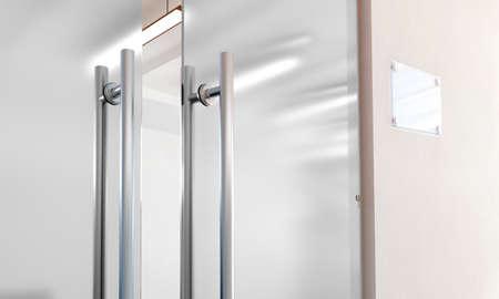 Lege glasdeur met het model van metaalhandvatten, het 3d teruggeven. De ingang van het bureau met ruimtetekenraad op muur omhoog spot. Geopende luxe hal deuropening met transparant oppervlak voor uw bedrijfslogo ontwerp.