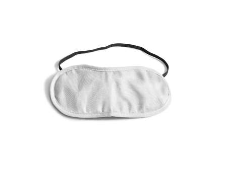 Blank white sleeping mask mockup, isolated, clipping path. Asleep cover band design mock up. Clear satin visor template. Sleeplessness cotton insomnia treatment.