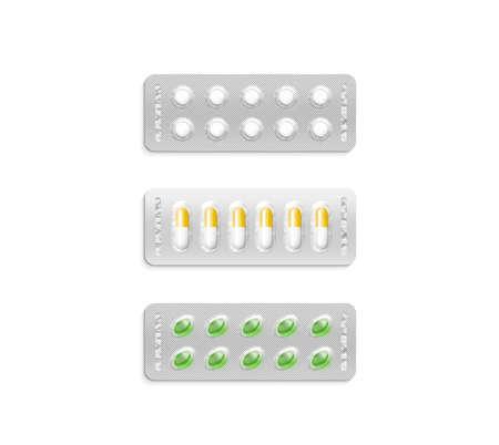pilule: Blister que establece con pastillas de color blanco y de color maqueta, el camino de recortes, ilustración 3d. diseño cachet Medicina maqueta aislado. pilules Pharma cubiertas de membrana de color en la plantilla pastillero de plástico.