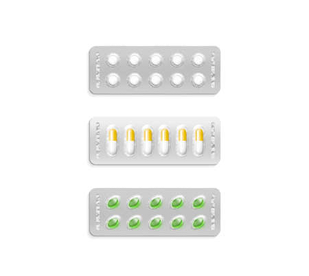 Blister pack set with white and coloured pills mockup, clipping path, 3d illustration. Medicine cachet design mock up isolated. Pharma pilules covered color membrane in plastic pillbox template. Stock Photo