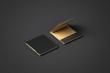 match box: Blank black promo matches book mock up, clipping path, 3d rendering. Paper match box packaging mock up. Matchbook case top side view ready for   design presentation. Opened matchbox presentation.