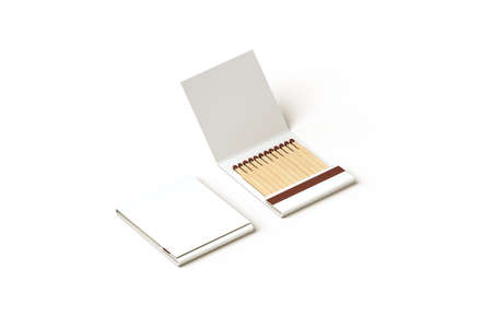match box: Blank promo matches book mock up, clipping path, 3d rendering. Empty paper match box packaging mockup isolated. Matchbook case top side view design presentation. Opened matchbox.