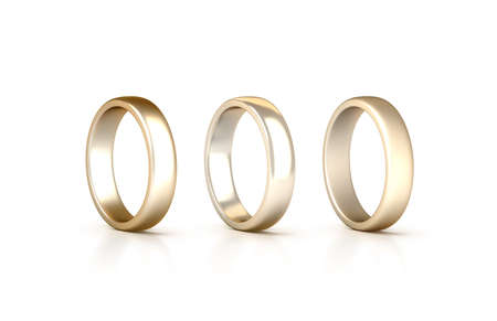 gilt: Gold rings set stand isolated, matte and gloss jewelry, clipping path, 3d rendering. White golden wedding ciclet with micro scratches. Yellow satined gilt metal circles.