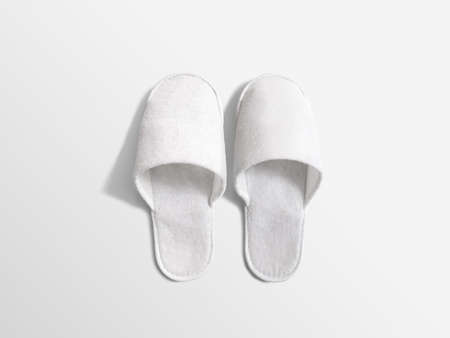 scuff: Pair of blank soft white home slippers, design mockup. House plain flops mock up template top view. Clear warm domestic sandal. Bed shoes accessory footwear.