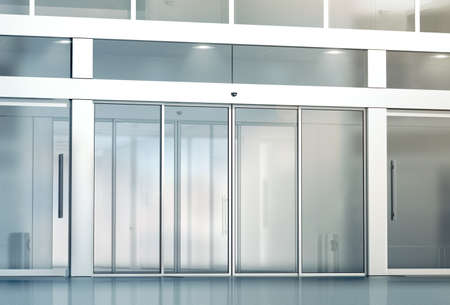 Blank sliding glass doors entrance mockup, 3d rendering. Commercial automatic entry mock up. Office building exterior template. Closed transparent business centre facade, front view.