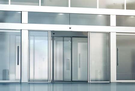 Blank Glasschiebetüren Eingang Mockup, 3D-Rendering. Kommerzielle automatische Dia Eintrag Mock-up. Bürogebäude außen Vorlage. Geschlossen transparent Business Center Fassade, Vorderansicht.
