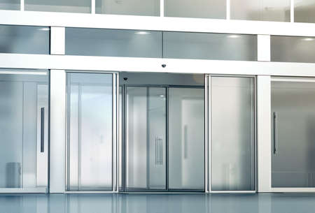 Blank sliding glass doors entrance mockup, 3d rendering. Commercial automatic slide entry mock up. Office building exterior template. Closed transparent business centre facade, front view. Banque d'images