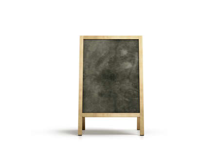 Blank outdoor chalkboard stand mockup, isolated, front view, 3d rendering. Clear street signage with blackboard mock up. A-board with wooden frame template. Bar or restaurant welcome easel. Banque d'images