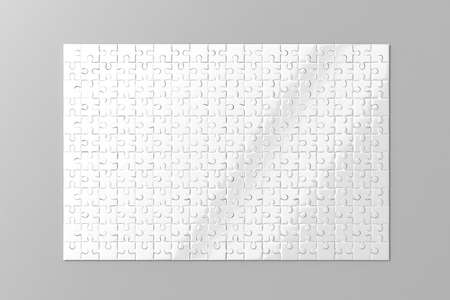 Blank white puzzles game mockup, 3d rendering. Clear jigsaw pieces connected together, design mock up. Big board toy template. Space plastic surface for picture presentation isolated, grey background