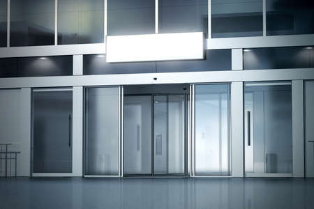 열린 된 자동 유리 도어 입구 mockup, 3d 렌더링 저장소에 빈 빛 상자. 상업 야간 비즈니스 센터 항목, 사인 보드 최대 모의. 조명 된 외관, 전면보기를 열었다.