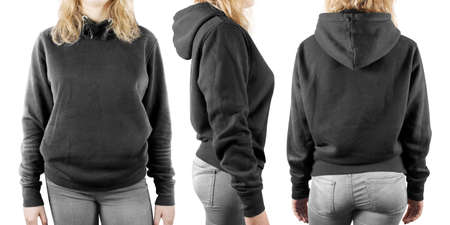 Blank black sweatshirt mock up set isolated, front, back and side view. Woman wear grey hoodie mockup. Plain hoody design presentation. Textile gray loose overall model. Pullover for print.