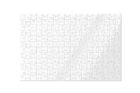 medley: Blank white puzzles game mockup isolated, 3d rendering. Clear jigsaw pieces connected together, design mock up. Big board toy template. Stock Photo