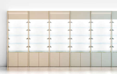 show case: Blank wooden showcase design mockup, 3d rendering. Clear white wood show case with empty glass shelves mock up. Store wall with modern cabinet. Shop front view with bright rack template.