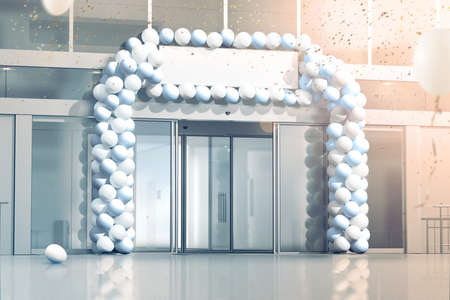 office entrance: New business grand opening mockup, celebration at the office entrance, 3d rendering. Blank signage banner under store entry, confetti and balloons decorated supermarket exterior. Progress and success. Stock Photo