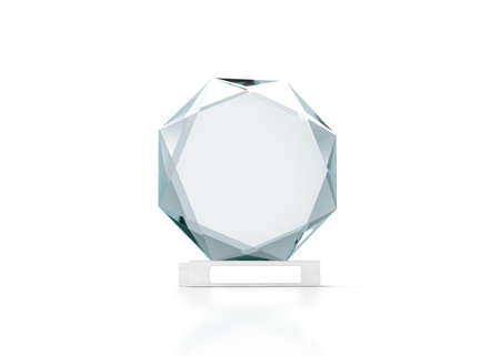 Blank round glass trophy mockup, 3d rendering. Empty acrylic award design mock up. Transparent crystal prize plate template. Premium first place prise plaque, isolated on white, front view. Archivio Fotografico