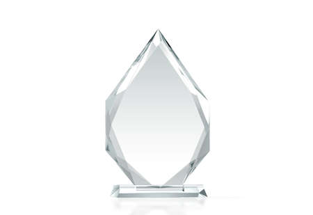Blank arrow shape glass trophy mockup, 3d rendering. Empty acrylic award design mock up. Transparent crystal prize plate template. Premium grand prix prise plaque, isolated on white, front view.