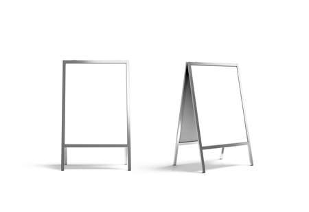 portative: Blank white metallic outdoor stand mockup set, isolated, front and side view, 3d rendering. Clear street signage board mock up. A-board with metal frame template.