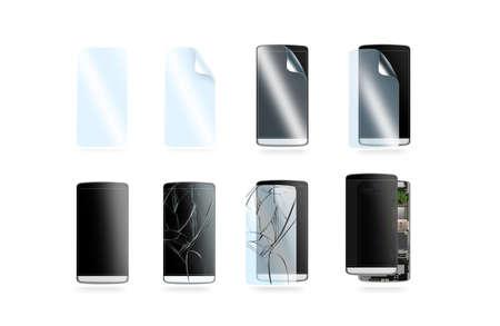 Geplaatste de pictogrammen van de telefoonbescherming, 3d illustratie. Smartphone reparatie graphics, beschermende films, gehard glas, gebroken scherm, cellphone-chip geïsoleerd. Toegang tot cellen, beschadigde onderdelen. Stockfoto
