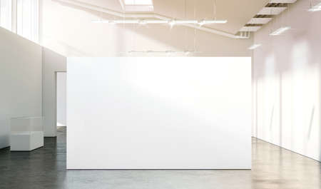 Blank white wall mockup in sunny modern empty gallery, 3d rendering. Clear big stand mock up in museum with contemporary art exhibitions. Large hall interior with wide banner exposition template. Stock Photo