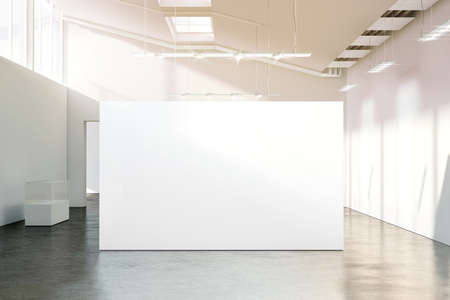 showpiece: Blank white wall mockup in sunny modern empty museum, 3d rendering. Clear big stand mock up in gallery with contemporary art exhibitions. Large hall interior with wide banner exposition template.