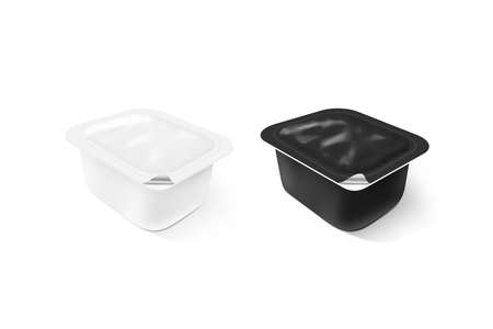 sause: Blank black and white sauce plastic container mock up stand isolated, 3d illustration. Sause clear jar mockup. Dip empty box design presentation. Butter or honey packaging. Jam bank template.