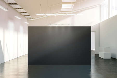 showpiece: Blank black wall mockup in sunny modern empty gallery, 3d rendering. Dark big stand mock up in museum with contemporary art exhibitions. Large hall interior with wide grey banner exposition template.