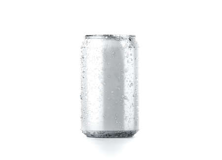 Blank cold aluminium beer can mockup with drops, 330 ml, 3d rendering. Empty fresh soda tin packing mock up with condensate, isolated on white. Canned dripping drink template. Cool fizzy pop package. Stock Photo