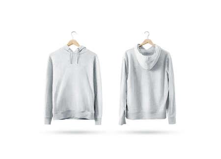 나무 옷걸이, 전면 및 후면 측면보기에 매달려 빈 흰색 스웨터 mockup 세트. 빈 땀이 셔츠를 랙에 조롱. 클리어 코튼 후드 티 템플릿. 일반 섬유 까마귀. 느슨한 전체 점퍼. 스톡 콘텐츠 - 74506184