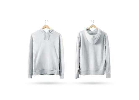 Blank white sweatshirt mockup set hanging on wooden hanger, front and back side view. Empty sweat shirt mock up on rack. Clear cotton hoody template. Plain textile hoodie. Loose overall jumper.