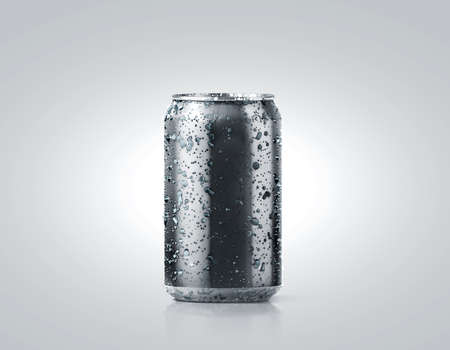 Blank black cold aluminium soda can mockup with drops, 330 ml, 3d rendering. Empty fresh fizzy pop packing mock up with condensate, isolated on white. Canned dripping drink template. Cool tin package.