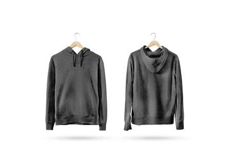 나무 옷걸이, 전면 및 후면 측면보기에 매달려 빈 검은 스웨터 모형. 빈 회색 땀 셔츠 랙에 조롱. 클리어 코튼 후드 티 템플릿. 일반 섬유 까마귀. 느슨