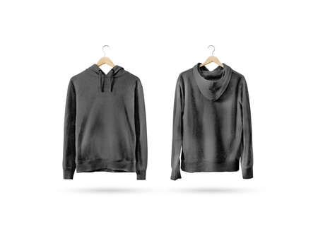 Blank black sweatshirt mockup set hanging on wooden hanger, front and back side view. Empty grey sweat shirt mock up on rack. Clear cotton hoody template. Plain textile hoodie. Loose overall jumper.