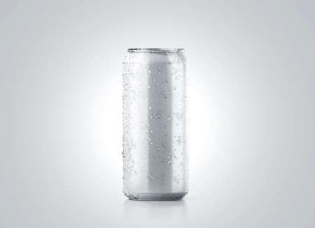 Blank big cold aluminium beer can mockup with drops, 500 ml, 3d rendering. Empty fresh soda tin packing mock up with condensate, isolated. Canned dripping drink design template. Cool fizzy pop package