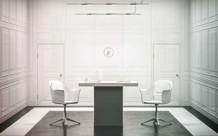 office furniture: Blank white luxury office interior design, 3d rendering. Bright empty work meeting room mock up, desk, two chairs. Clear light work place front view. Modern conference space with clock on the wall