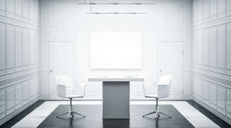 White luxury office interior design with blank banner on the wall, 3d rendering. Bright empty work meeting room canvas mock up, desk, two chairs. Clear poster in light work place front view. Zdjęcie Seryjne