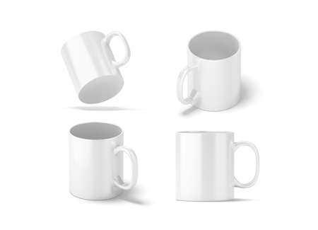 Blank white glass mug mockups set isolated, 3d rendering. Clear 11 oz coffee cup mock up for sublimation printing. Empty gift pint set branding template. Glassy restaurant tankard design.