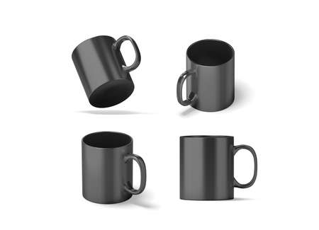 Blank black glass mug mock ups set isolated, 3d rendering. Clear grey 11 oz coffee cup mock up for sublimation printing. Empty gift dark pint set branding template. Glassy restaurant tankard design. Stock Photo