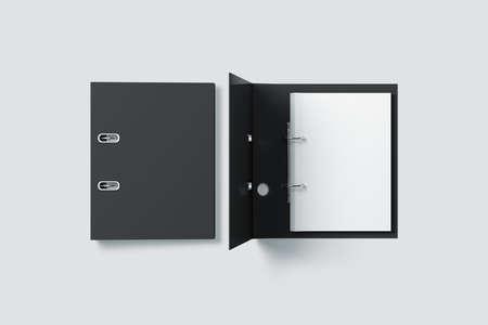 Blank black ring binder folder design mock up top view, 3d rendering. Self-binder mockup with stack of a4 paper. Office supply cardboard folder branding presentation. Desk lever arch file cover.