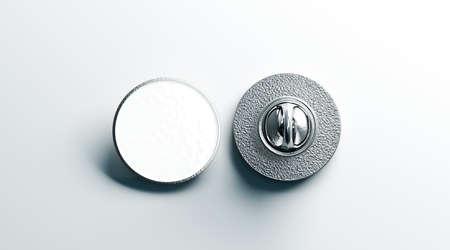Leerer weißer runder silberner Reversausweisspott oben, vordere und Rückseitenansicht, Wiedergabe 3d. Leeres hartes Email-Modell. Entwurfsvorlage für Metallspangen. Teure Curcular-Brosche für die Logo-Präsentation Standard-Bild
