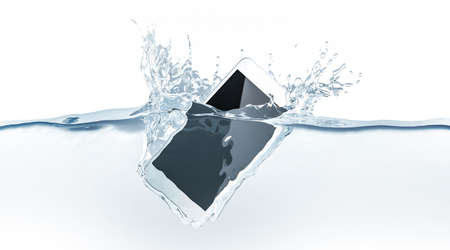 White smartphone mock up sinks in water, 3d rendering. Mobile smart phone with touch screen mockup fall under liquid surface. Electronic waterproof cellphone falling and dive with splashes.