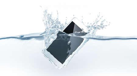 Witte smartphonespot omhoog gootstenen in water, het 3d teruggeven. Mobiele smartphones met mockup voor aanraakscherm vallen onder vloeistofoppervlak. Elektronische waterdichte cellphone die en met plonsen valt valt.