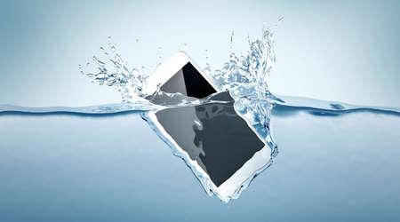 De witte daling van het smartphonemodel in water, het 3d teruggeven. Mobiele slimme telefoon met mockup van het aanrakingsscherm zinkt onder vloeistofoppervlakte. Elektronische waterdichte cellphone die en met plonsen valt valt.