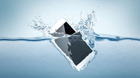 White smartphone mockup fall in water, 3d rendering. Mobile smart phone with touch screen mockup sinks under liquid surface. Electronic waterproof cellphone falling and dive with splashes.