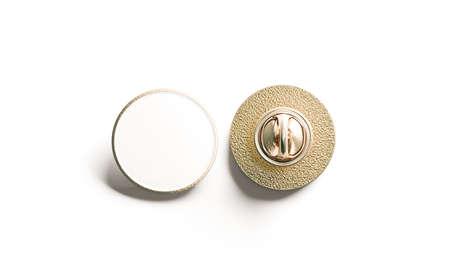 Blank white round gold lapel badge mock up, front and back side view, 3d rendering. Empty hard enamel pin mockup. Metal clasp-pin design template. Expensive curcular brooch for logo presentation
